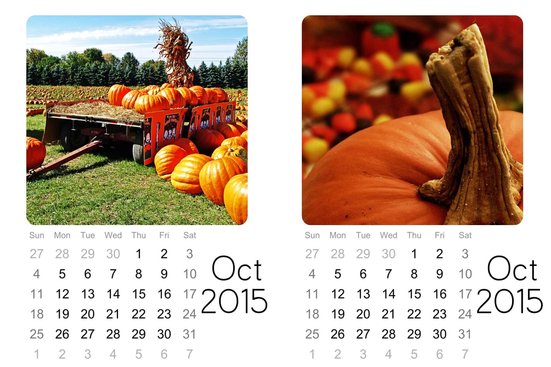 oct monthly mini calendar