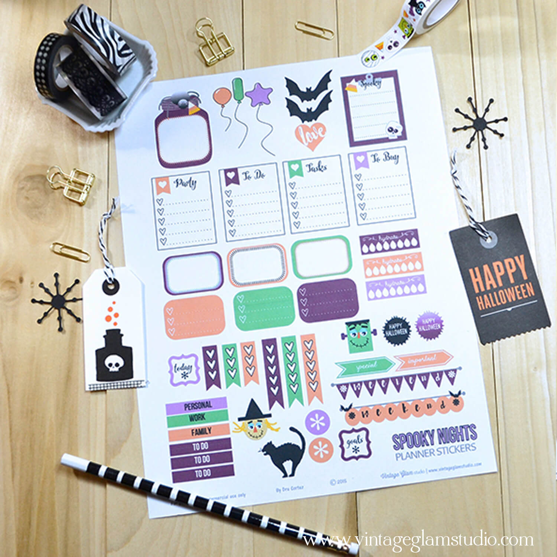 Spooky Nights | planner stickers printable
