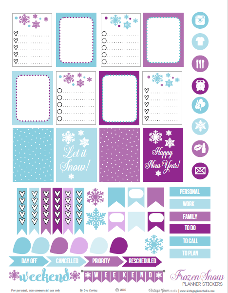 Frozen Snow | Planner stickers preview