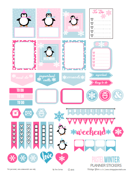 Pastel Winter | planner stickers preview