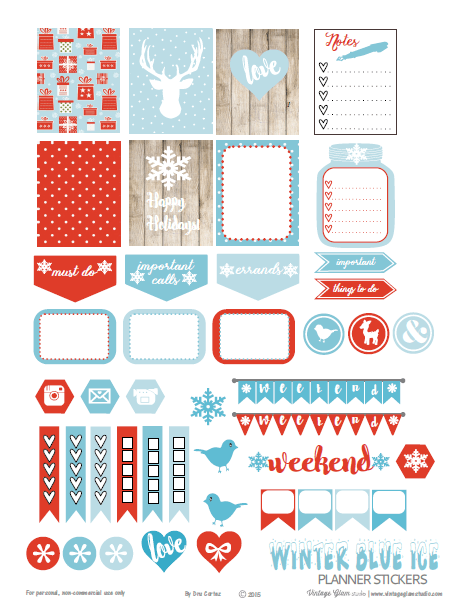 Winter Blue Ice | planner stickers preview