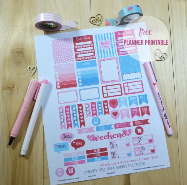 Cherry Red Planner Stickers | Free printable