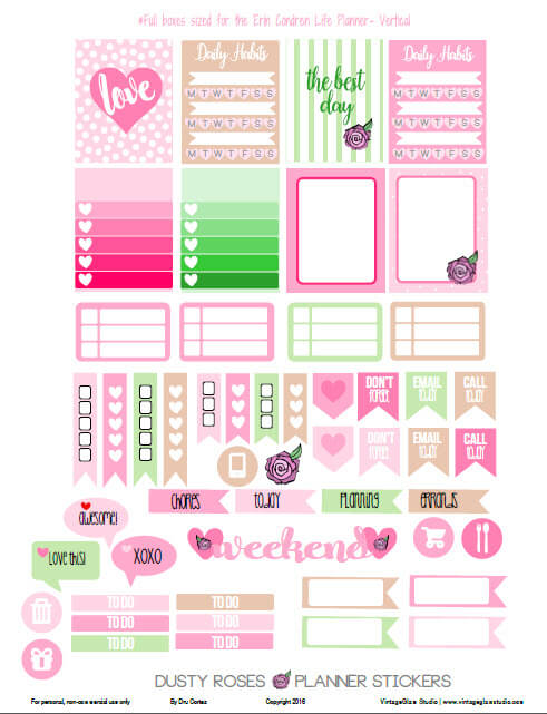 Dusty Roses Planner Stickers | Free printable download, for personal use only