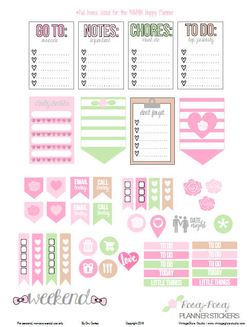 Rosey Posey Planner Stickers | Free printable