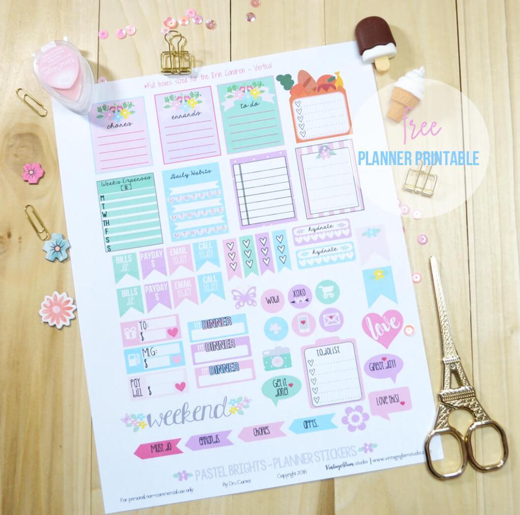 planner stickers printable, print sample