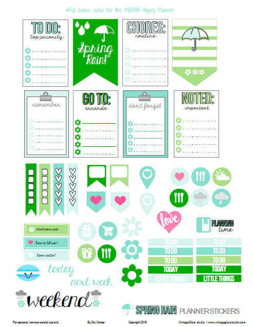 Spring Rain planner stickers preview