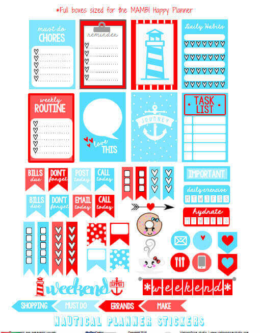 Nautical Planner Stickers - preview