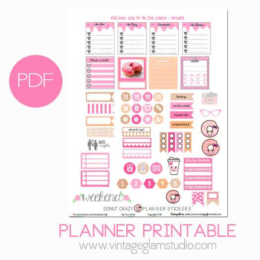 Donut planner stickers printable preview