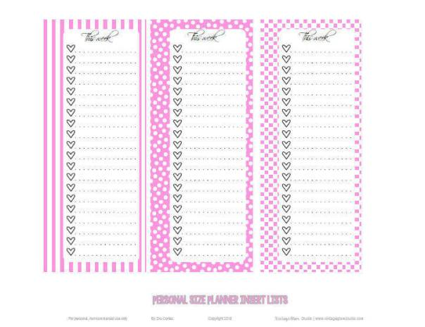 Personal Planner Inserts Lists - preview