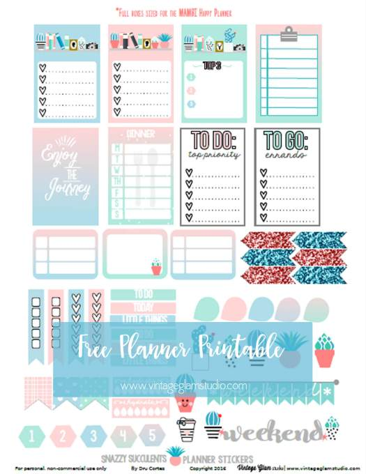 Snazzy Succulents | Free planner stickers printable for personal use only