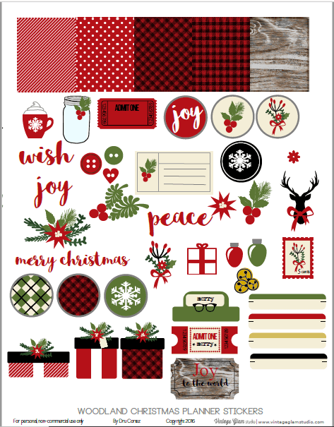 Woodland Xmas | Planner Stickers printable preview