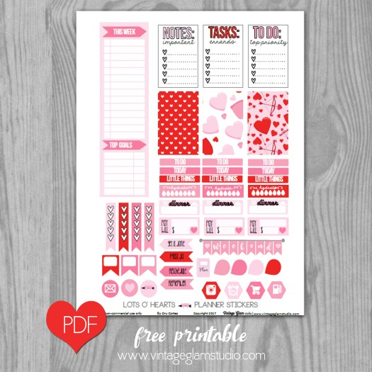 Valentine themed planner stickers printable, free for personal use only