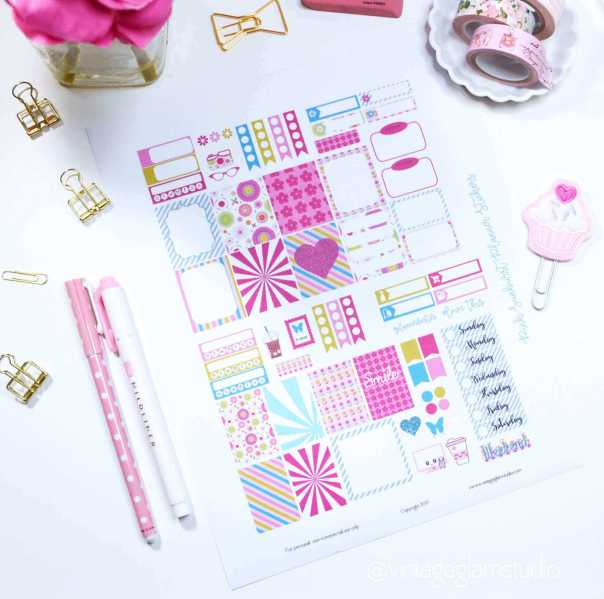 Pink Sunburst Planner Stickers| Free printable for the Mini Happy Planner, for personal use only
