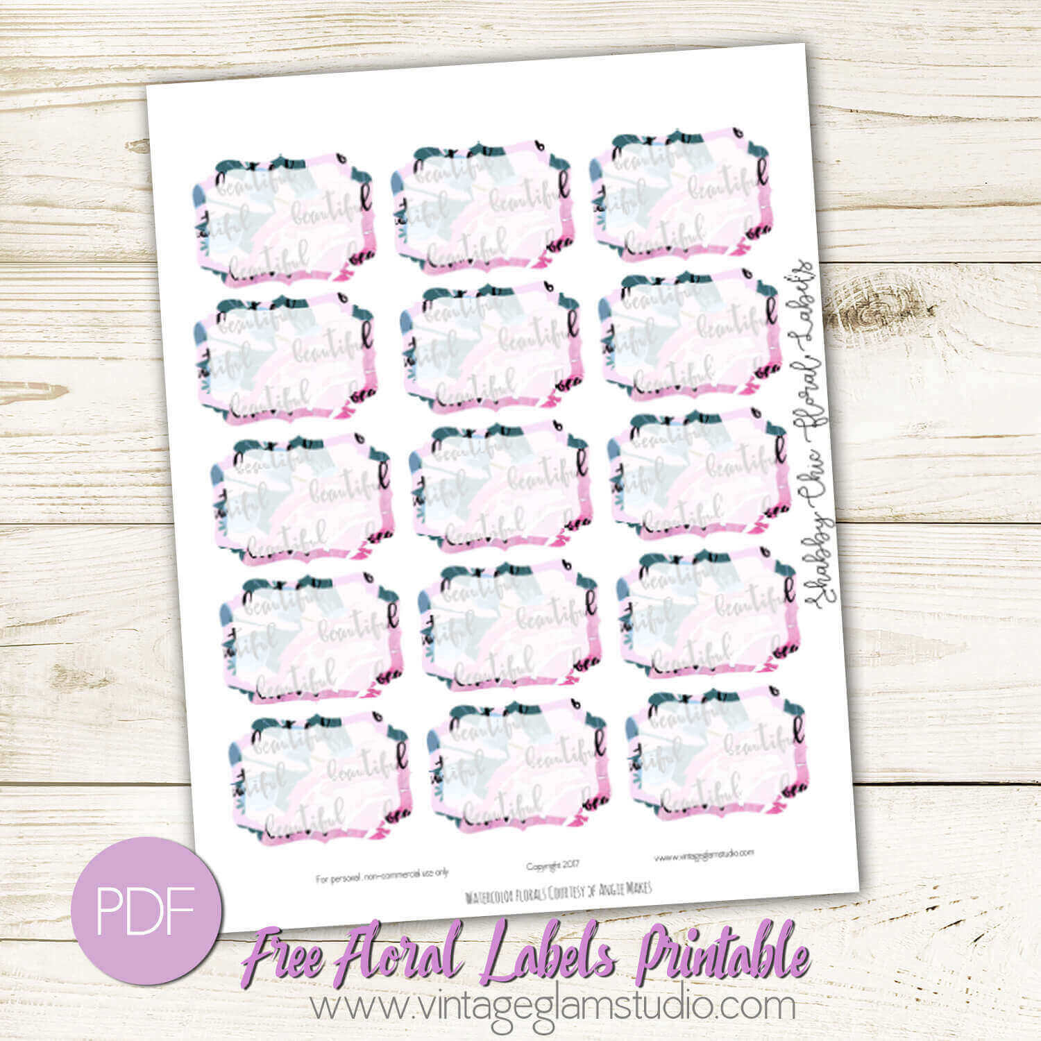 Shabby Chic Floral Labels Free Printable