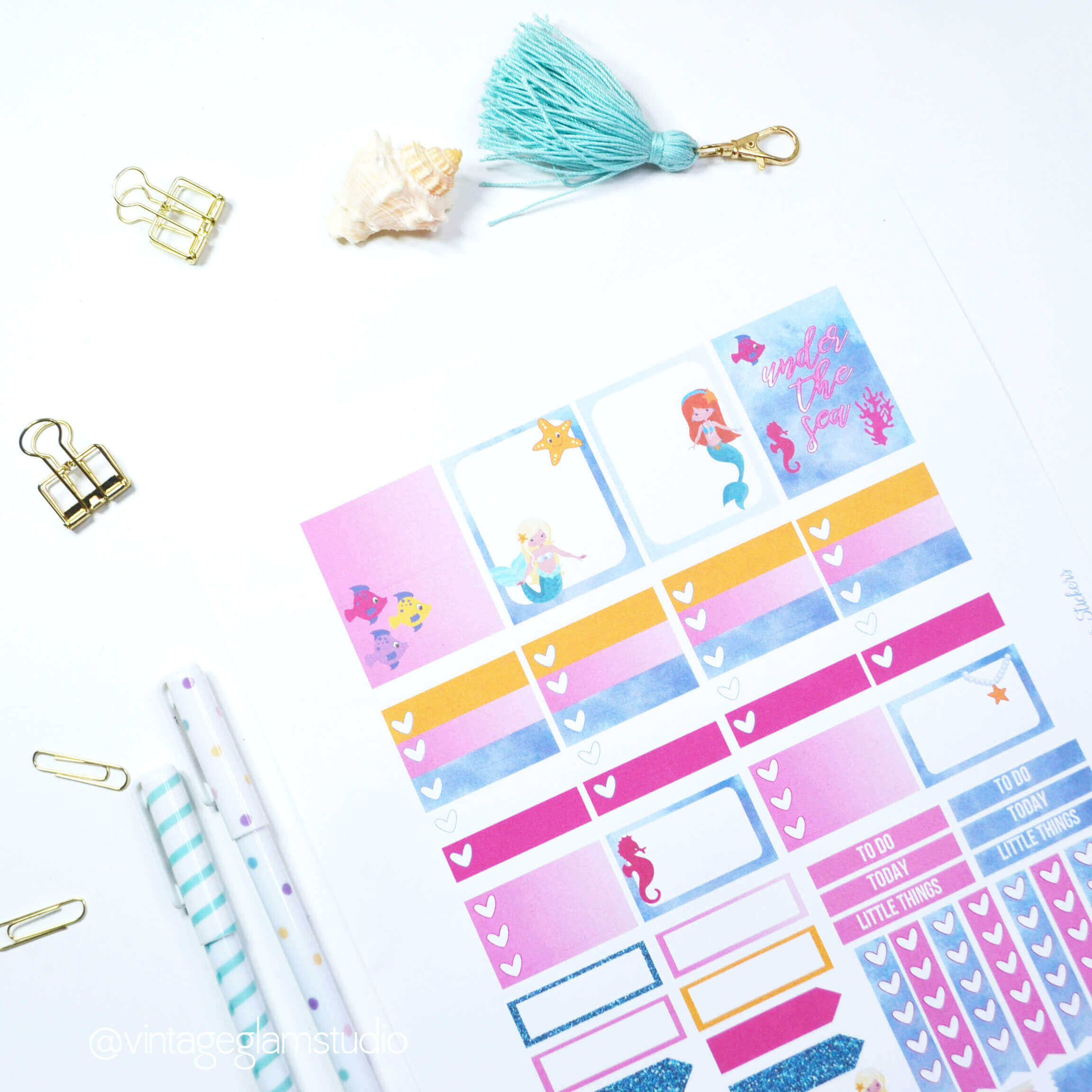 Under The Sea Planner Stickers Free Printable