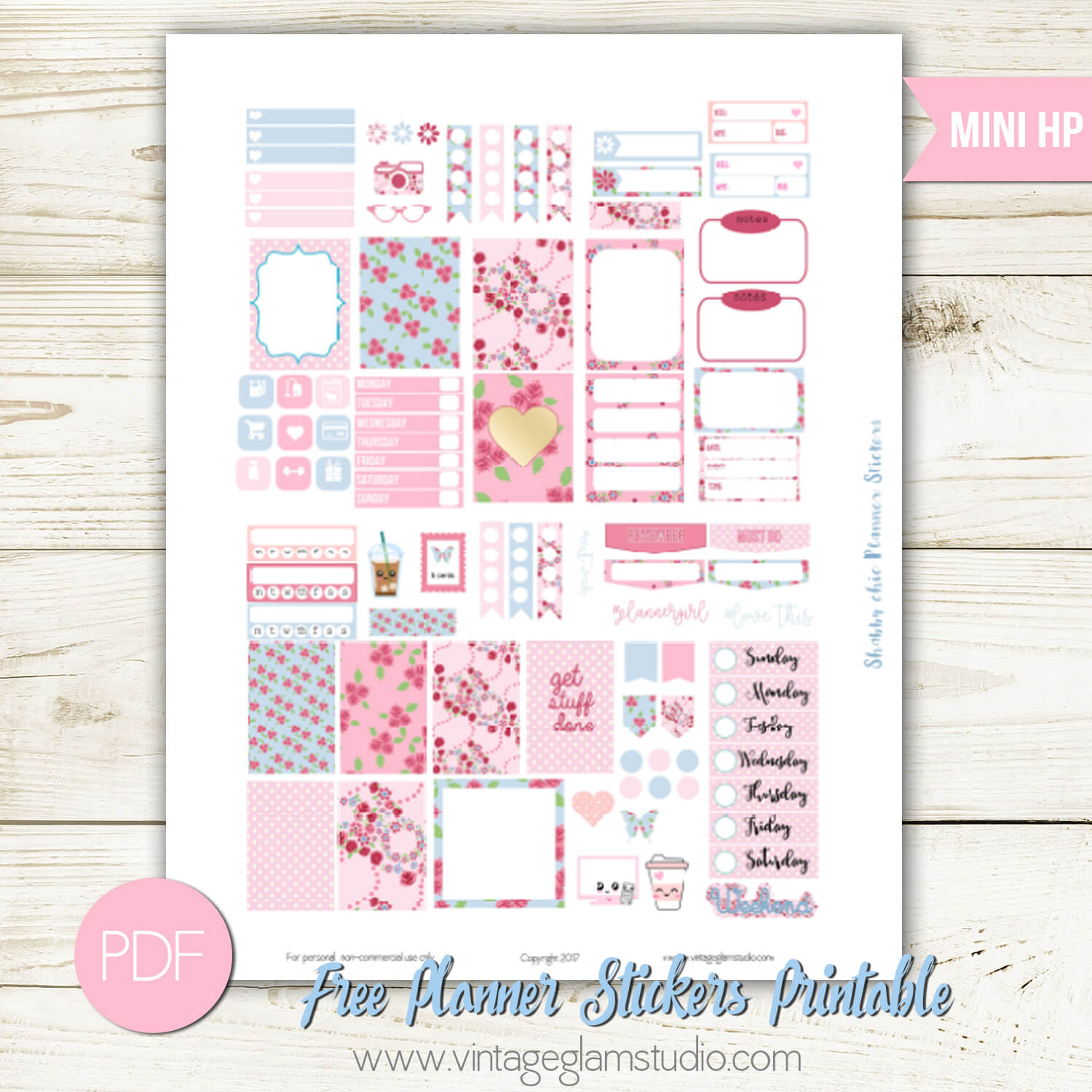 graphic regarding Free Mini Happy Planner Printable Inserts known as Mini Content Planner - Shabby Stylish Planner Stickers - Traditional
