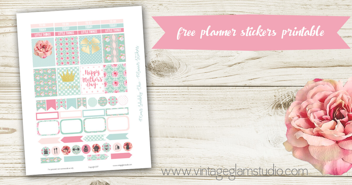 Mom Shabby Chic Planner Stickers Free Printable