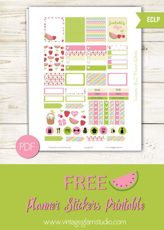 Free planner stickers printable for the Erin Condren, for personal use only