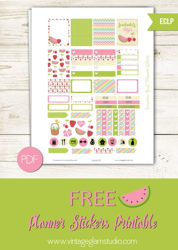 Summer Fruit Planner Stickers