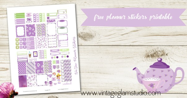 mini happy planner, tea time planner stickers printable
