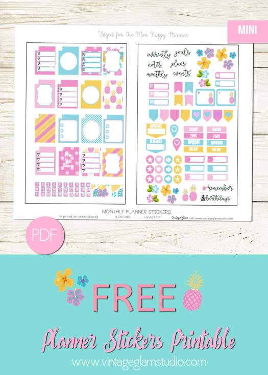 Free printable for mini happy planner, for personal use only