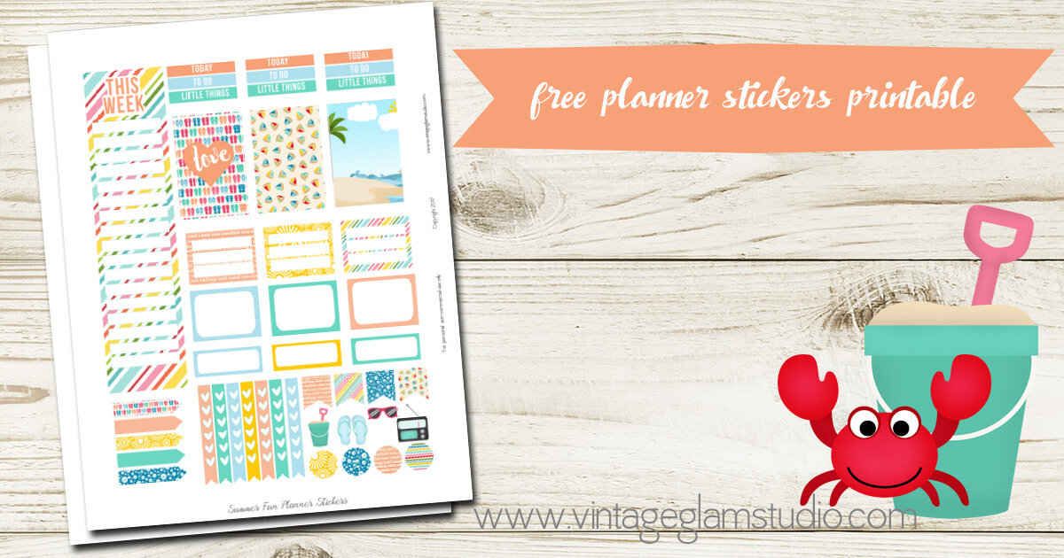 Summer Fun Planner Stickers Free Printable