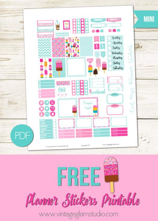 Free mini happy planner printable, for personal use only