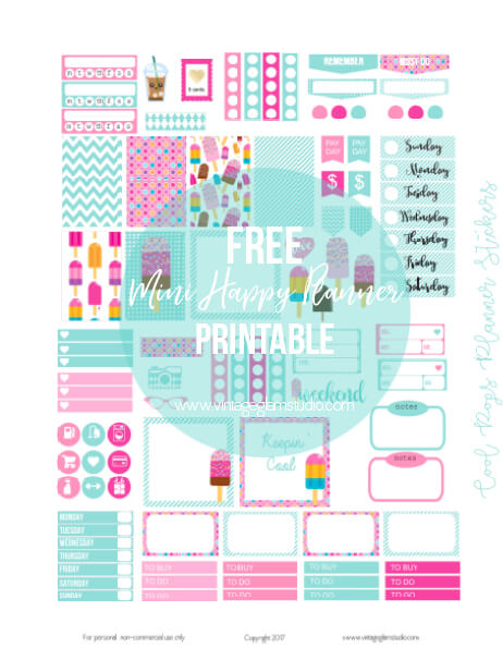 free printable, mini happy planner