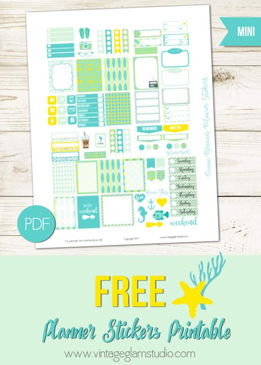 Free printable, Mini Happy Planner, for personal use only