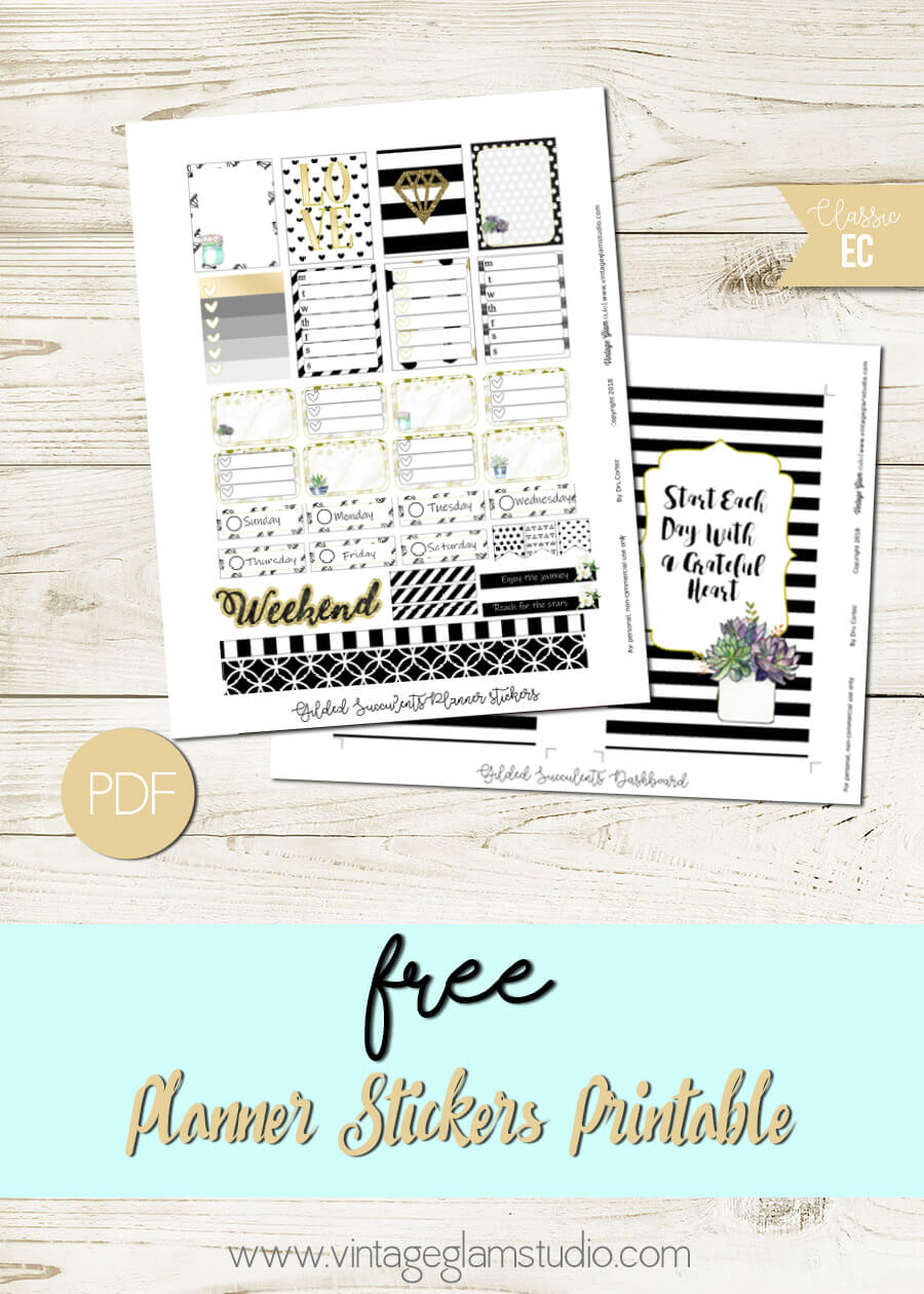 Gilded Succulents | Free planner stickers printable, for personal use only