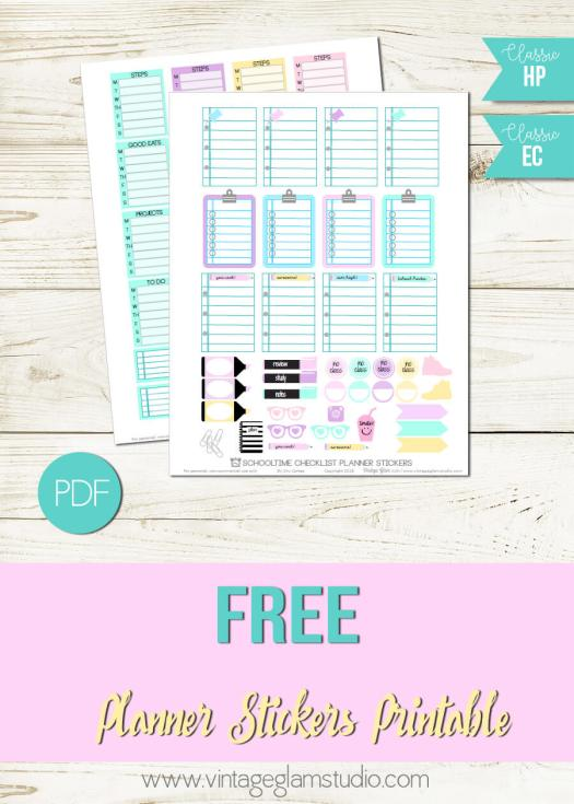 Schooltime Checklists | Planner stickers printable, free for personal use
