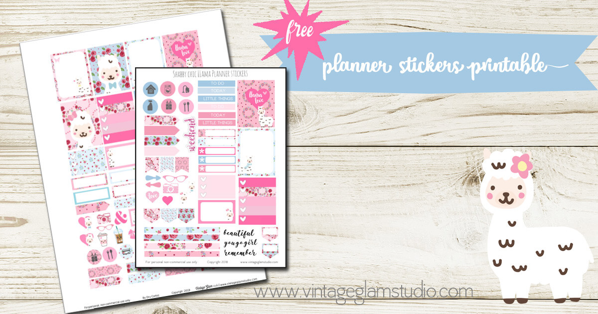 Shabby Chic Llama Planner Stickers Printable