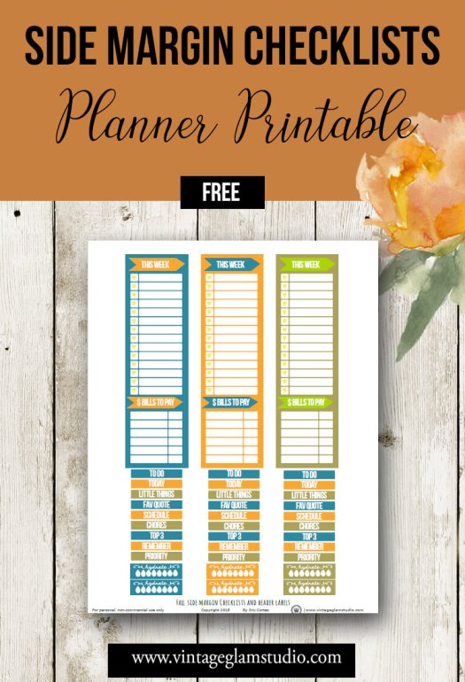 Side Margin Checklists | Free planner stickers printable for personal use