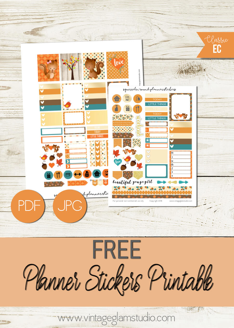Squirrel Round | Free planner stickers printable, for personal use