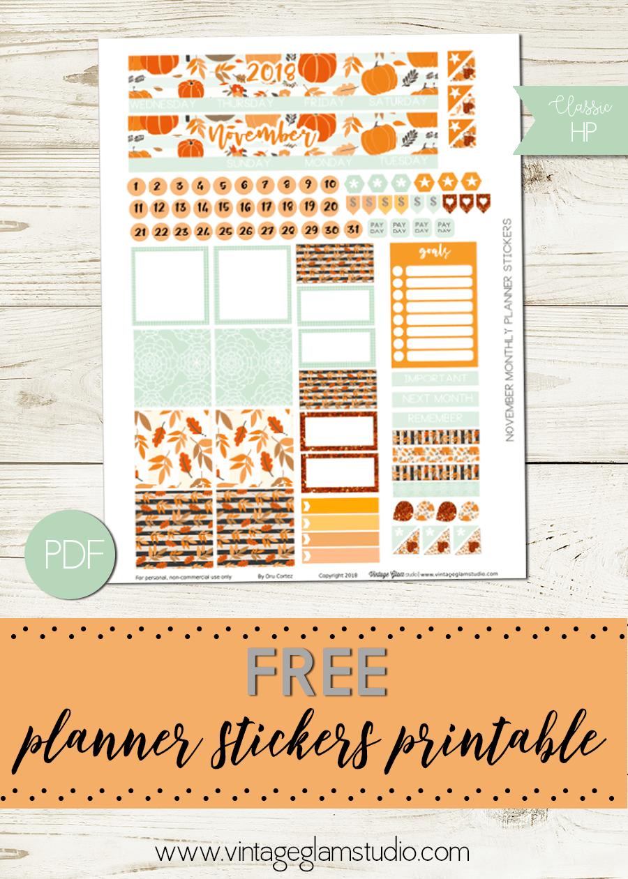 November Planner Stickers | free printable for personal use