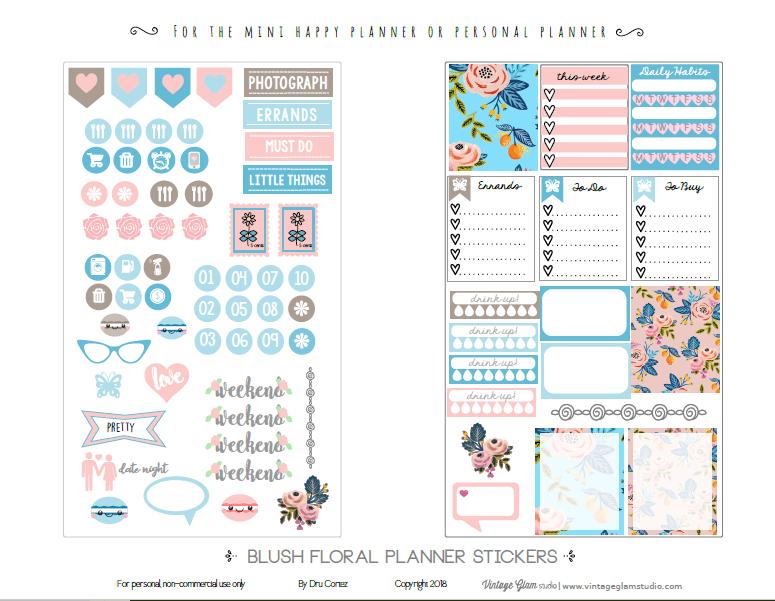 Mini happy planner stickers