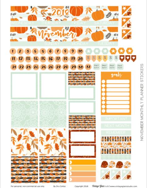 November Monthly printable