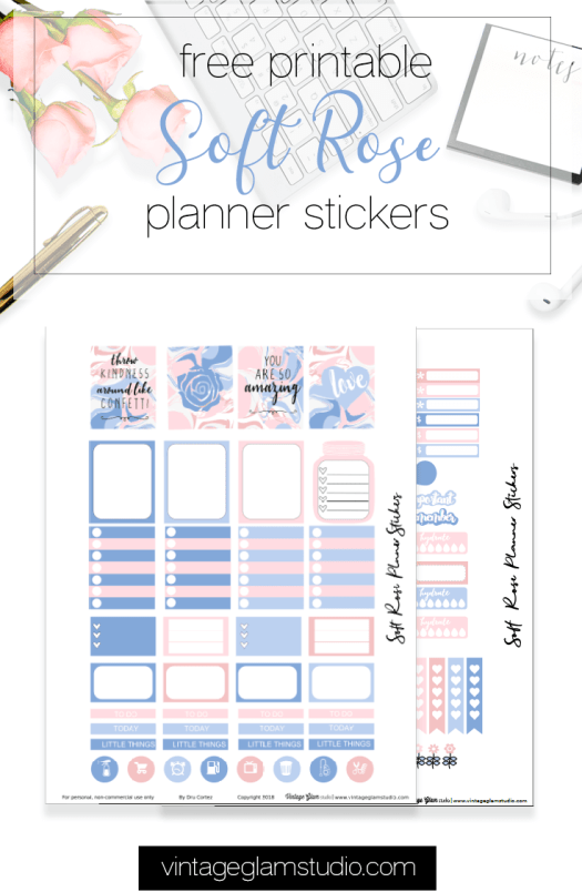 Soft Rose planner stickers