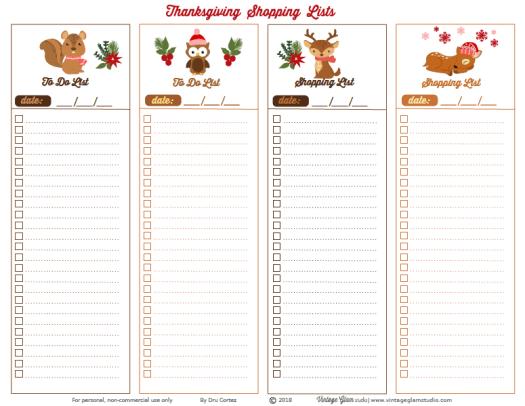 holiday shopping lists printable