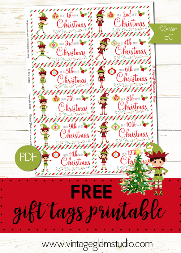 picture about 12 Days of Christmas Printable Tags titled 12 Times of Xmas Present Tags - Absolutely free Printable - Classic
