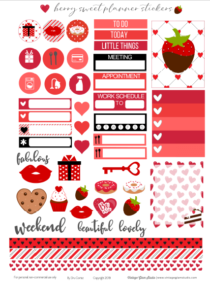 photo relating to Printable Planner Stickers titled Berry Cute Planner Stickers Printable - Common Glam Studio