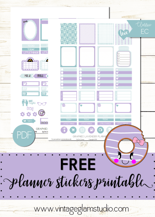 Graphic Lavender planner stickers printable, free for personal use only