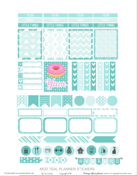 teal planner stickers