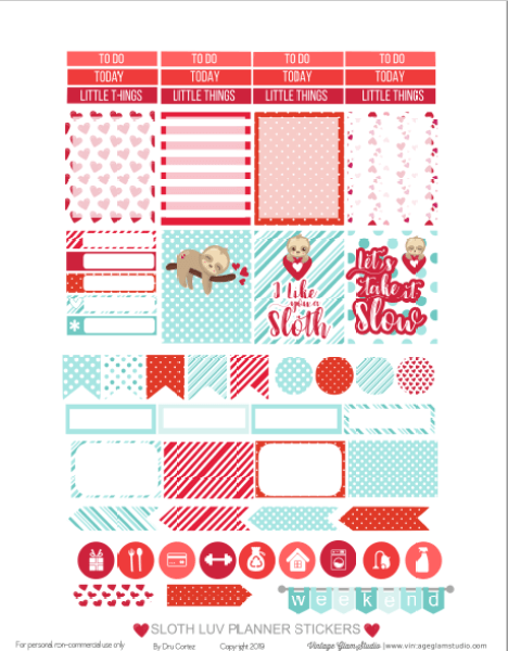 picture about Valentine Stickers Printable titled Sloth Luv Planner Stickers Printable - Traditional Glam Studio