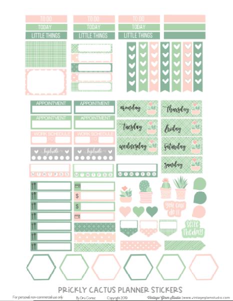 cactus planner stickers printable