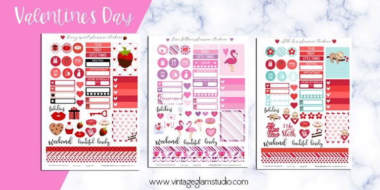 valentine's cricut ready planner stickers