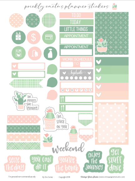 prickly cactus planner stickers