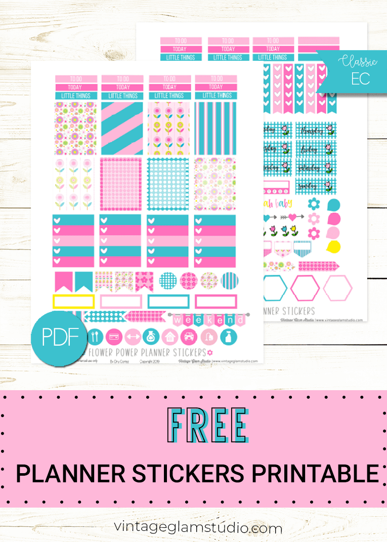 flower power planner stickers printable