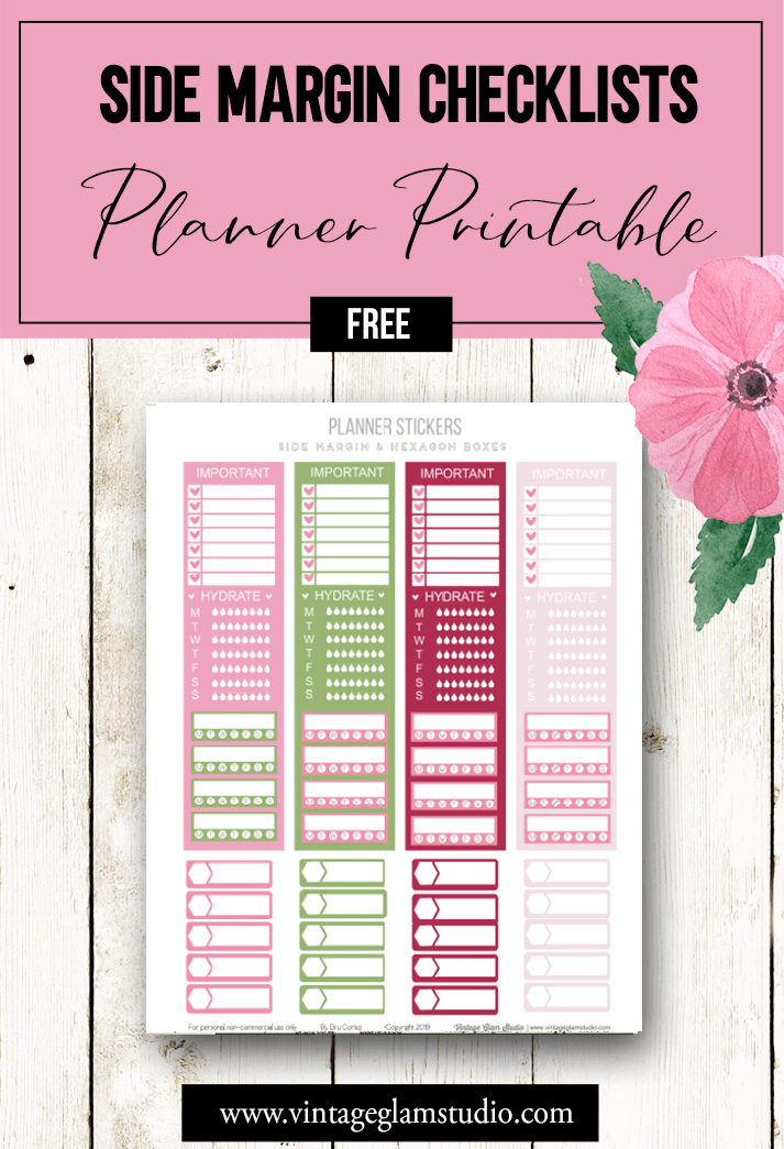 side margin checklist panels planner stickers