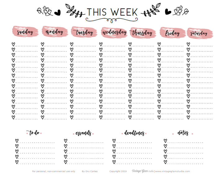 week at a glance planner printable
